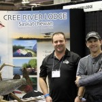 Patrick Babcock of Cree River Lodge shares fishing stories at the Calgary Boat and Sportsman show