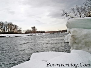 Ice heaves on the banks of the bow river