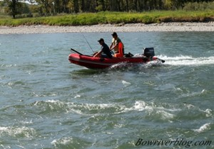 Todd makes a cut to land his boat into Policeman's Flats along the Bow River