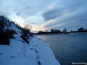 Bow river water cools as winter is upon us now
